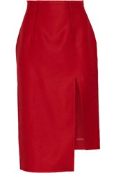 Acne Studios Lynton Asymmetric Wool And Silk Blend Midi Skirt Red