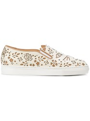 Charlotte Olympia Cool Cat Sneakers Women Leather Rubber 37.5 Nude Neutrals