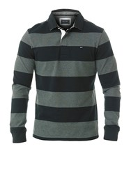 Eden Park Wide Striped Rugby Polo Shirt Grey