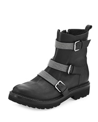 Leather Triple Strap Moto Boot Black Brunello Cucinelli
