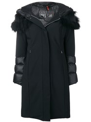 Rrd Fox Fur Trim Hooded Coat Black
