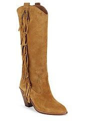 Ash Leather Mid Calf Boots Camel