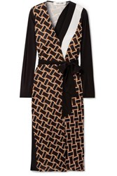 Diane Von Furstenberg Maureen Printed Silk Jersey And Silk Crepe De Chine Wrap Dress Black