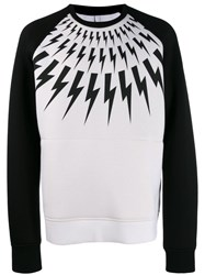 Neil Barrett Lighting Bolt Sweatshirt White
