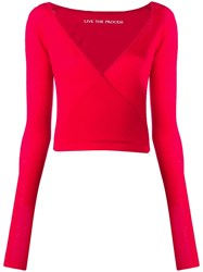 Live The Process Red Wrap Top