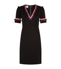 Gucci Striped Ruffles V Neck Dress Female Black