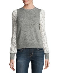 Rebecca Taylor Lace Sleeve Pullover Heather Gray Silver Heather Gr