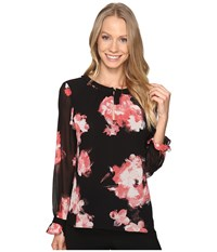 Ellen Tracy Keyhole Long Sleeve Blouse Floral Chrys Women's Blouse Black