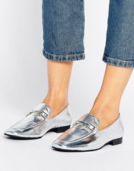 Park Lane Leather Trim Metallic Loafer Silver Leather