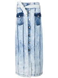 Each X Other Button Up Denim Skirt Blue