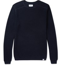 Norse Projects Lauge Slim Fit Waffle Knit Wool And Cotton Blend Sweater Navy