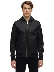 Schott Washed Leather Jacket W Hood Black