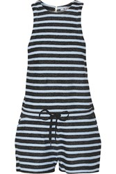 Alexander Wang Striped Cotton Terry Romper Blue