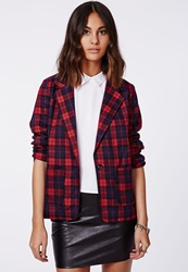Missguided Tartan Blazer Red
