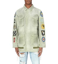 Off White C O Virgil Abloh Faded Cotton Field Jacket Military Green