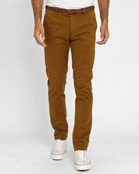Scotch And Soda Mustard Faded Cotton Chinos With Belt