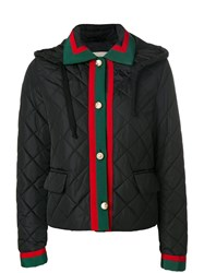 Gucci Web Trim Quilted Jacket Cotton Polyamide Polyester Viscose Black