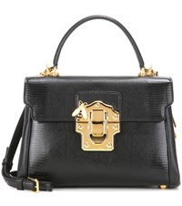 Dolce And Gabbana Lucia Embossed Leather Crossbody Bag Black