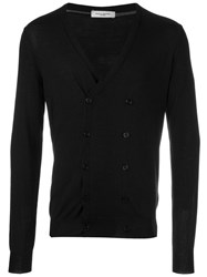 Paolo Pecora Double Breasted V Neck Cardigan Black