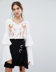 Neon Rose V Neck Top With Layered Ruffle Sleeves And Floral Embroidery White