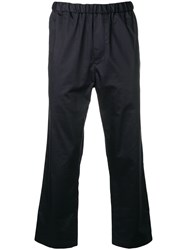 Oamc Cropped Straight Leg Trousers Blue