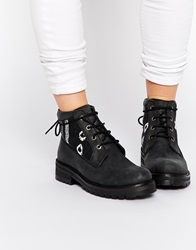 Park Lane Chunky Leather Embroidered Ankle Boots Black