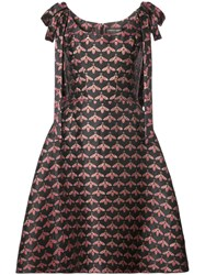 Christian Siriano Shoulder Bow Bee Print A Line Dress Silk Polyester Black