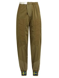 Acne Studios Ilse Co Sat Panelled Trousers Khaki