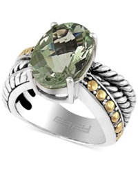 Effy Collection Balissima By Effy Green Amethyst Oval Ring In Sterling Silver And 18K Gold 5 3 4 Ct. T.W.