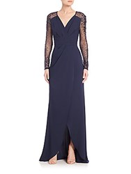 Pamella Roland Crepe Beaded Sleeve Gown Navy