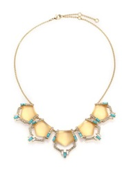 Alexis Bittar Phoenix Deco Lucite Turquoise Howlite And Crystal Articulated Bib Necklace Gold Turquoise