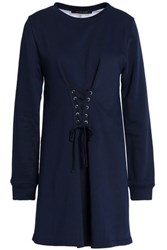 W118 By Walter Baker Anne Lace Up French Terry And Striped Cotton Blend Poplin Mini Dress Midnight Blue