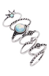 Topshop Beach House 7 Pack Ring Set Silver