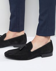 Red Tape Tassel Loafers In Black Suede Black