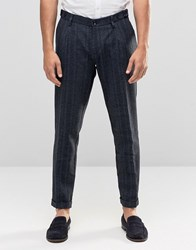 Sisley Slim Fit Trousers With Tonal Stripe Blue 901 Grey