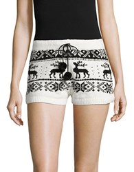 Betsey Johnson Cozy Intarsia Sweater Shorts White
