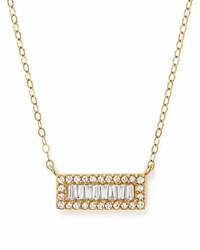 Bloomingdale's Diamond Round And Baguette Bar Pendant Necklace In 14K Yellow Gold .20 Ct. T.W.
