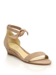 Alexandre Birman Clarita Suede Ankle Tie Demi Wedge Sandals Nude