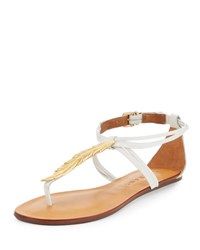 Carrano Leather Strappy Sandal With Golden Leaf White
