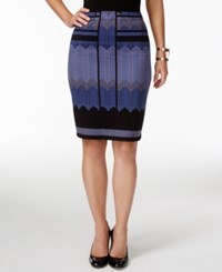 Studio M Printed Ponte Pencil Skirt Purple