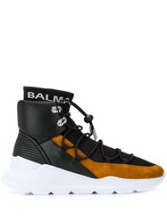 Balmain High Top Panelled Sneakers Black