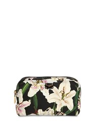 Dolce And Gabbana Lily Print Nylon Make Up Bag Gigli Nero