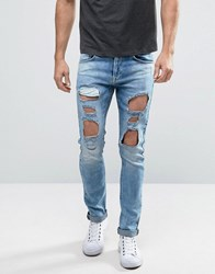 Redefined Rebel Skinny Fit Jeans In Mid Wash Blue With Distressing Sky