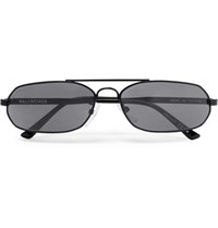 Balenciaga Oval Frame Metal Sunglasses Gray