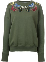 Alexander Mcqueen Moth Embroidered Sweatshirt Grey