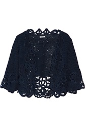 Oscar De La Renta Cropped Crochet Knit Silk Cardigan Blue
