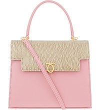 Launer Traviata Calf And Lizard Leather Tote Pink Beige Lizard Navy