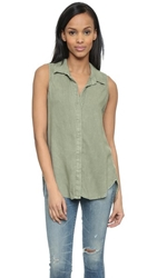 Bella Dahl Sleeveless Button Back Shirt Spring Moss