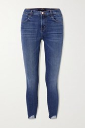 J Brand Alana Distressed High Rise Skinny Jeans Mid Denim