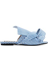 N 21 No. Knotted Striped Satin Sandals Blue